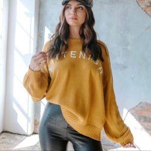 Kittenish Logo Mustard Yellow Oversized Sweater S